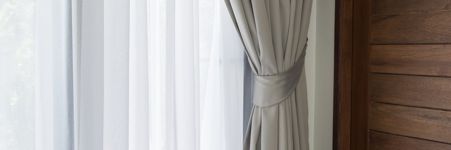 Beautiful modern grey and white curtains in living room 1500_500